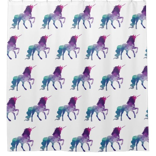 Magical Sparkling Prancing Unicorn Shower Curtain