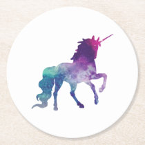 Magical Sparkly Prancing unicorn Round Paper Coaster