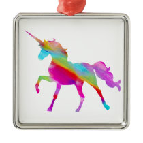Magical sparkly rainbow prancing unicorn metal ornament