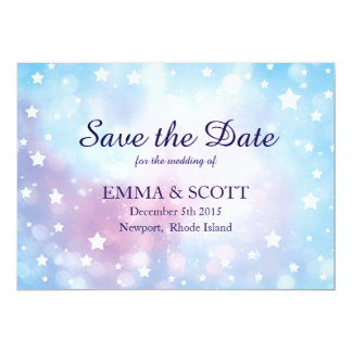 Magical stars Save the Date wedding in blue & pink Card