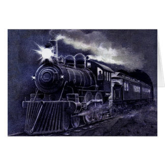 Magical Steam Engine Victorian Train Greeting Card