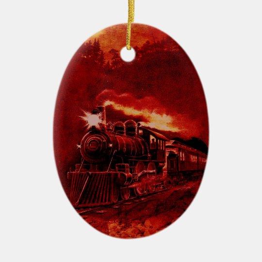Magical Steam Engine Victorian Train Ceramic Ornament