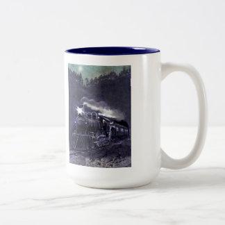 Magical Steam Engine Victorian Train Two-Tone Coffee Mug