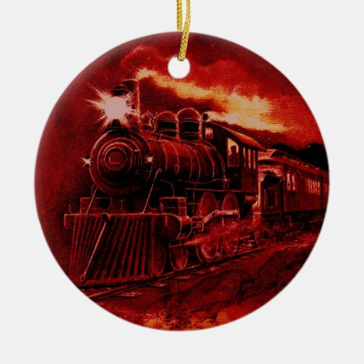Magical Steam Engine Victorian Train Double-Sided Ceramic Round Christmas Ornament