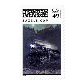 Magical Steam Engine Victorian Train Postage Stamp