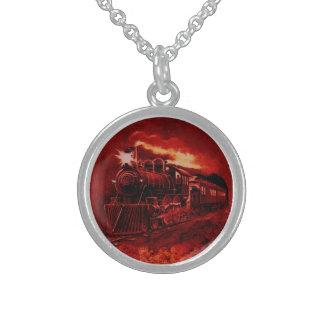 Magical Steam Engine Victorian Train Round Pendant Necklace