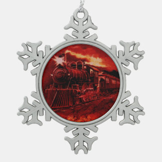 Magical Steam Engine Victorian Train Snowflake Pewter Christmas Ornament
