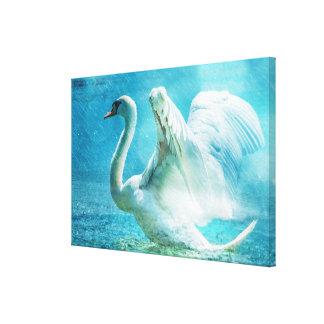 Magical Swan During a Summer Shower Canvas Print