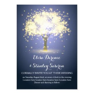 Magical tree 1, sparkling lights blue wedding card