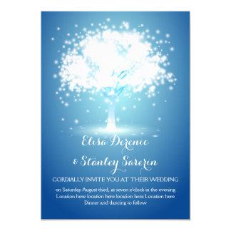 Magical tree, sparkling lights blue wedding card