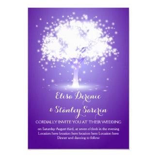 Magical tree, sparkling lights purple wedding card