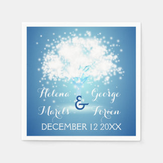 Magical tree with sparkling lights blue wedding standard cocktail napkin