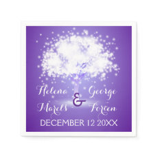 Magical tree with sparkling lights purple wedding disposable napkin