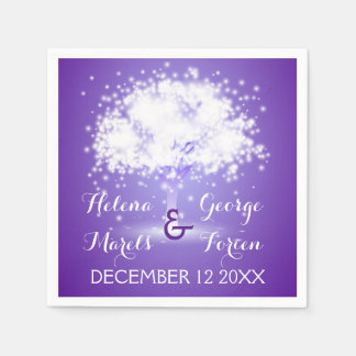 Magical tree with sparkling lights purple wedding standard cocktail napkin