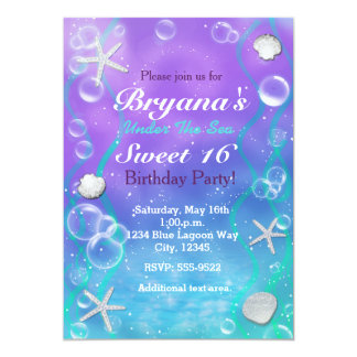 magical under the sea birthday party invitation - Under The Sea Party Invitations