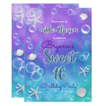 Beach Themed Magical Under The Sea Sweet 16 16th Birthday Party Card