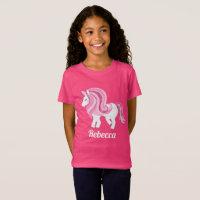 Magical unicorn add name girls t-shirt