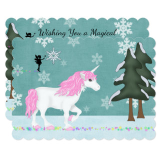 Magical Unicorn and Fairy in Winter Forest Holiday Card