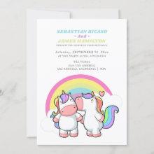 Magical Unicorn And Rainbow Fun Gay Wedding Announcement