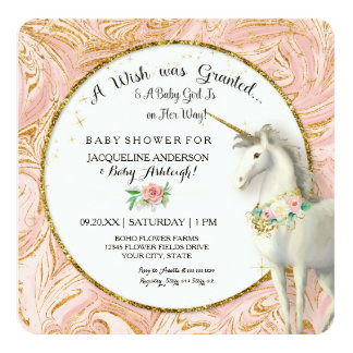 Magical Unicorn Baby Girl Shower Marble Rose Gold Card