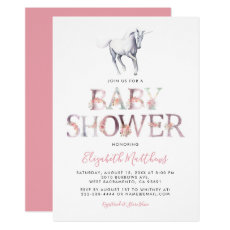 Magical Unicorn Baby Shower | Pink Floral Girl Invitation
