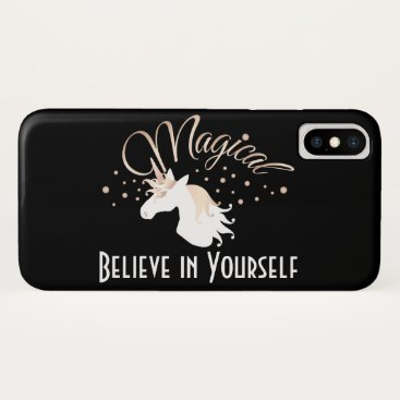Magical Unicorn Believe in Yourself Modern Black iPhone X Case