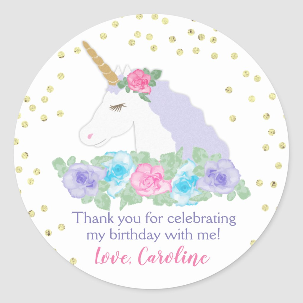 Magical Unicorn Birthday Favor Labels Gold