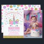 "Magical Unicorn Birthday Invitation Pink Gold<br><div class=""desc"">Unicorn birthday Invitation. A perfect Way to announce your Magical Unicorn party!  All designs are &#169;PIXELPERFECTIONPARTYLTD</div>"