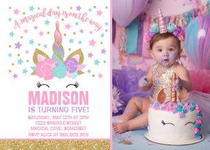 Birthday invitations zazzle magical unicorn birthday invitation pink gold filmwisefo