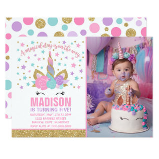 Magical Unicorn Birthday Invitation Pink Gold at Zazzle