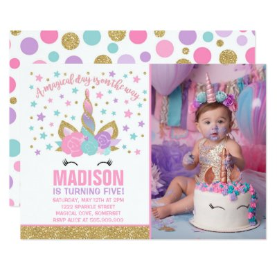 Rainbow Unicorn Birthday Party Invitations
