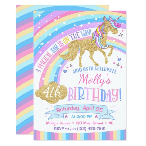 Magical Unicorn Birthday Invitation Rainbow Invite