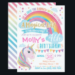 "Magical Unicorn Birthday Invitation Rainbow Invite<br><div class=""desc"">This rainbow and unicorn invitation is perfect for a magical birthday party!</div>"