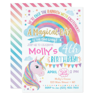 Rainbow unicorn invitations zazzle magical unicorn birthday invitation rainbow invite stopboris Images
