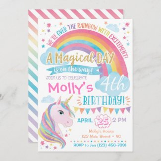 Magical Unicorn Birthday Invitation Rainbow Invite