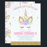 """Magical Unicorn Birthday Invitation Unicorn Party<br><div class=""""desc"""">Magical Unicorn Birthday Invitation The Glitter effect within this design is a digital image made to look like real glitter.  High quality and still gorgeous,  but no actual real glitter will be used in the making of this product.  All designs are &#169; PIXEL PERFECTION PARTY LTD</div>"""