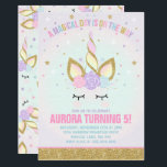 "Magical Unicorn Birthday Invitation Unicorn Party<br><div class=""desc"">Magical Unicorn Birthday Invitation The Glitter effect within this design is a digital image made to look like real glitter.  High quality and still gorgeous,  but no actual real glitter will be used in the making of this product.  All designs are &#169; PIXEL PERFECTION PARTY LTD</div>"