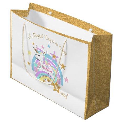 Magical Unicorn Birthday Large Gift Bag