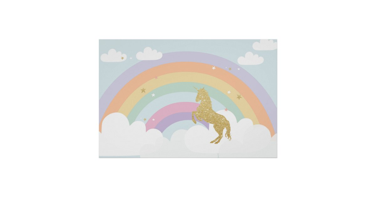 Magical Unicorn Birthday Party Backdrop Poster Zazzle Com