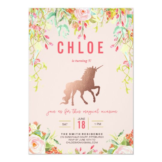 Unicorn Birthday Party Invitations Announcements Zazzle