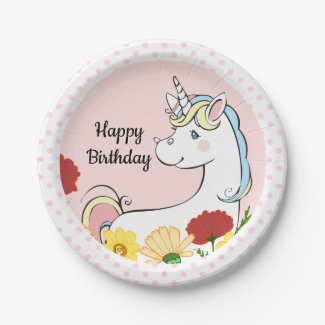 Magical Unicorn Birthday Party Plate