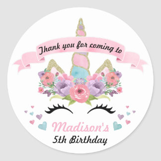 Magical Unicorn Birthday Party Thank You Stickers