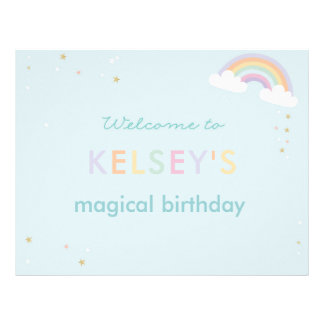 Magical Unicorn Birthday Welcome Sign Letterhead