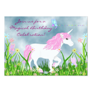 Magical Unicorn, Butterflies and Flowers Birthday 5x7 Paper Invitation Card