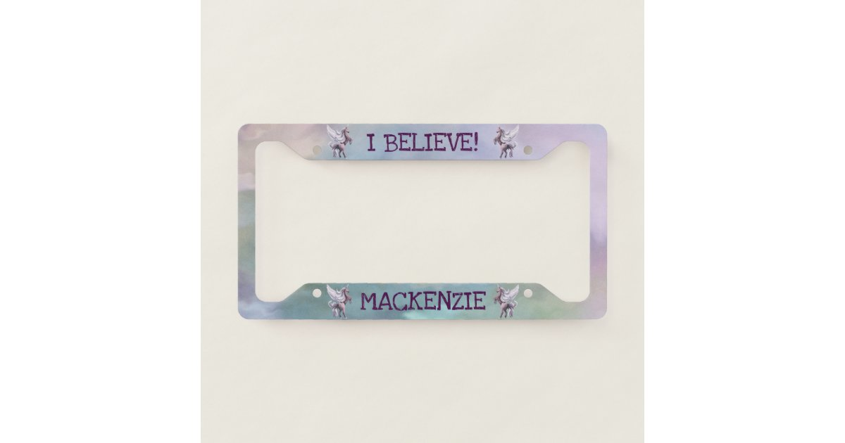 Magical Unicorn | Colorful Believe Pesonalize Name License Plate ...