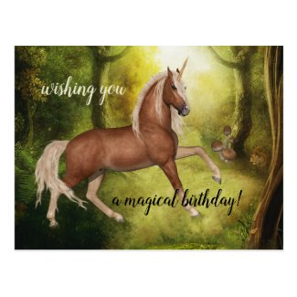 Magical Unicorn Enchanted Forest Birthday Postcard