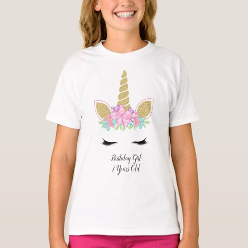 Magical Unicorn Face Floral Birthday Girl Outfit T_Shirt