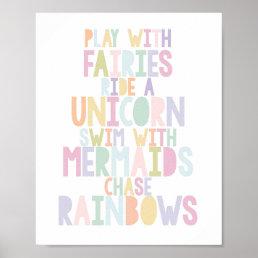 MAGICAL UNICORN, FAIRIES, MERMAIDS, RAINBOWS PRINT