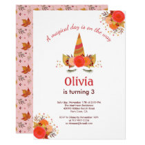 Magical Unicorn Fall Thanksgiving Birthday Party Invitation