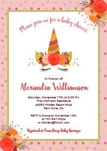Thanksgiving baby shower invitations zazzle magical unicorn fall thanksgiving girl baby shower invitation filmwisefo